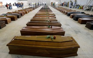 Lampedusa victim's coffins